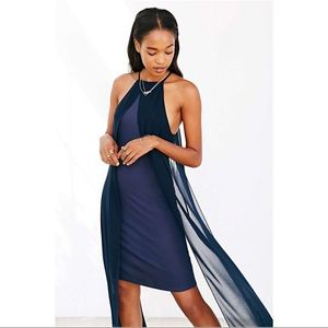 Blue Navy Silence + Noise Hi-Lo Maxi Dress